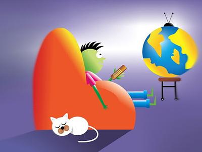 The Future of Online TV - illustration Design onlinetv futuretv tv tv app blue world cat