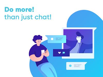 Chat App - Blue Color illustration design app webrtc illustrator illustraion blue chat app