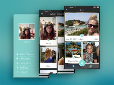 iOS app ios profile grid menu blue dating online