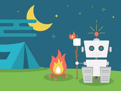 Robot camping 2d blue green illustration camping robot nature