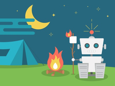 Robot camping 2d blue green illustration camping robot nature