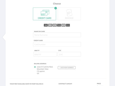 Payment info invoice billing address card payment
