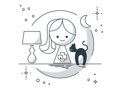 Woman with a cat cat mother in law illustration