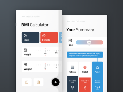 BMI Calculator Concept custom icons mobile design ux ui 004 dailyui daily100 activity weight health sport fitness tracker calculator bmi app