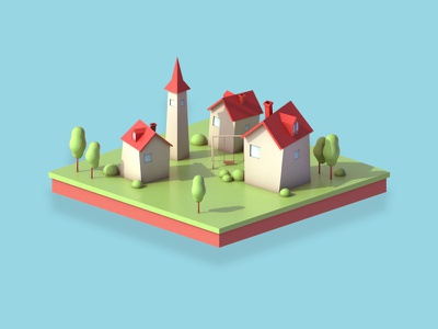 Small village web switzerland swiss poly lowpolyart modeling lowpoly colorful color cinema4d cartoon building agency 3d artist 3d art 3d animation 3d