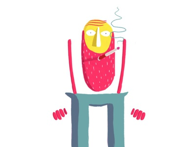 Smoking man illustree illustration drawing animation design character