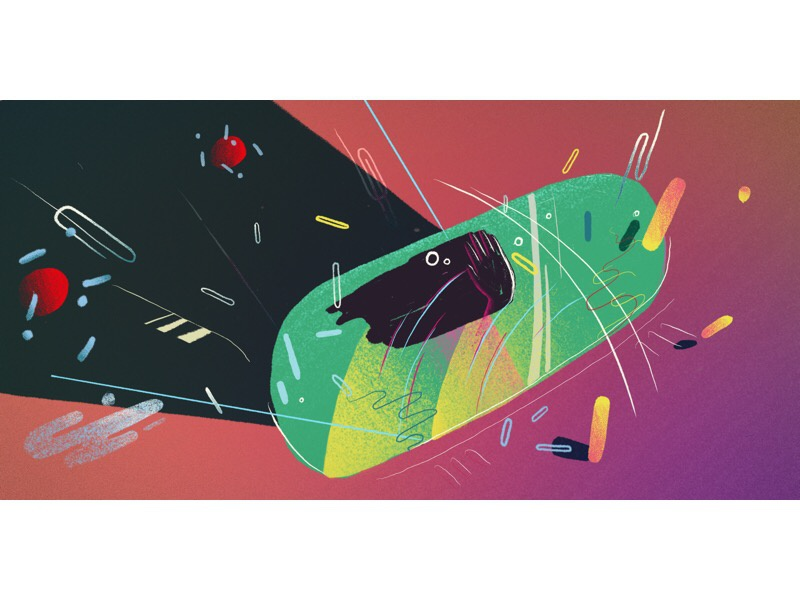 Car journey through a storm car motion animation concept design illustration
