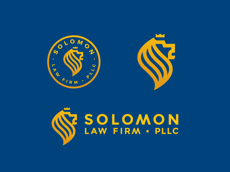 Solomon Law Firm PLLC logo mark stamp lines crown s letter s lion lawyer law