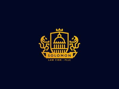 Solomon Law Firm PLLC Coat of Arms branding identity law lawyer lines mark logo shield lion capital rotunda coat of arms