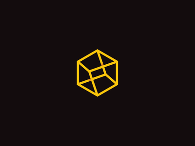 Carbon Architecture yellow walls box 3d lines frames hexagon