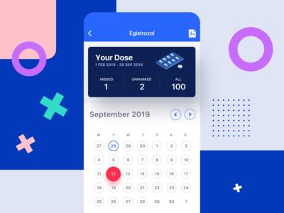 Mobile Application - Take your medicine - Calendar View