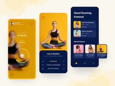 Meditation application dark dark mode dark app dark ui uxdesign uidesign ux ui relaxing yoga yellow iphone11 ios application minimaldesign minimal appdesign mobile mobiledesign meditation
