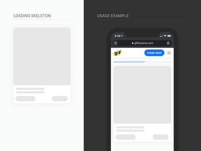 Gif Banana Loading Skeleton Component gif iphone app ux interface responsive desktop mobile ui minimal design system component progress bar skeleton loading
