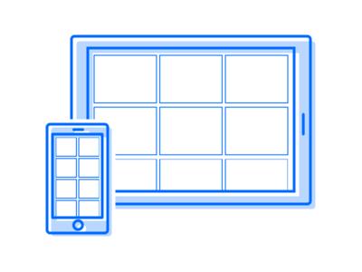 Mobile and Tablet Illustration app onboarding onboarding single color outline minimal illustration tablet mobile