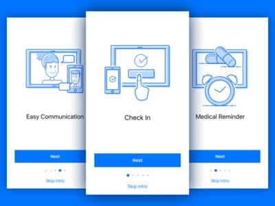 Onboarding single color outline offset color offset minimal illustration tablet mobile blue on boarding onboarding