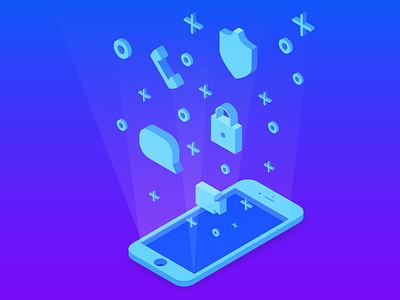 Mobile Illustration light 3d blue video call messaging security mobile illustration