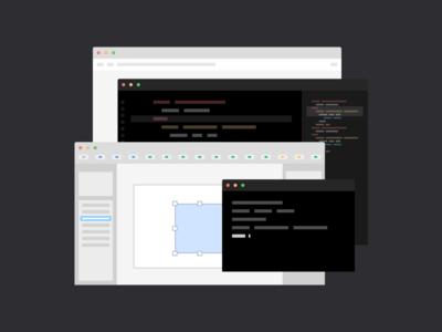 Design & Code Illustration browser sketch terminal code editor code design illustration