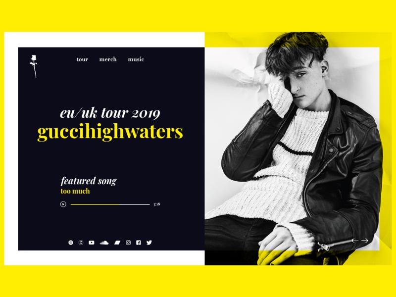 guccihighwaters Website Concept gucci typo modern minimal clean bold dark music website web ux ui typography interface design concept