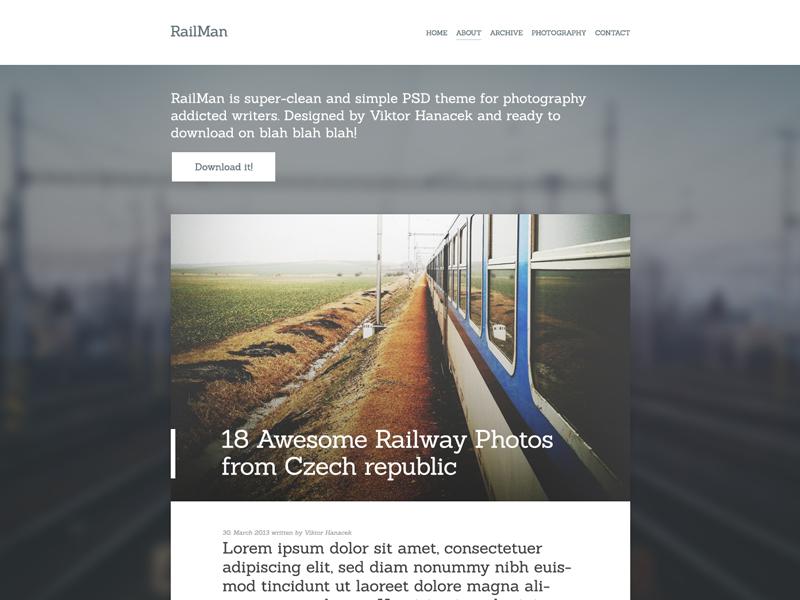 RailMan. blog blur photo simple sanchez flat site website webdesign design web clean