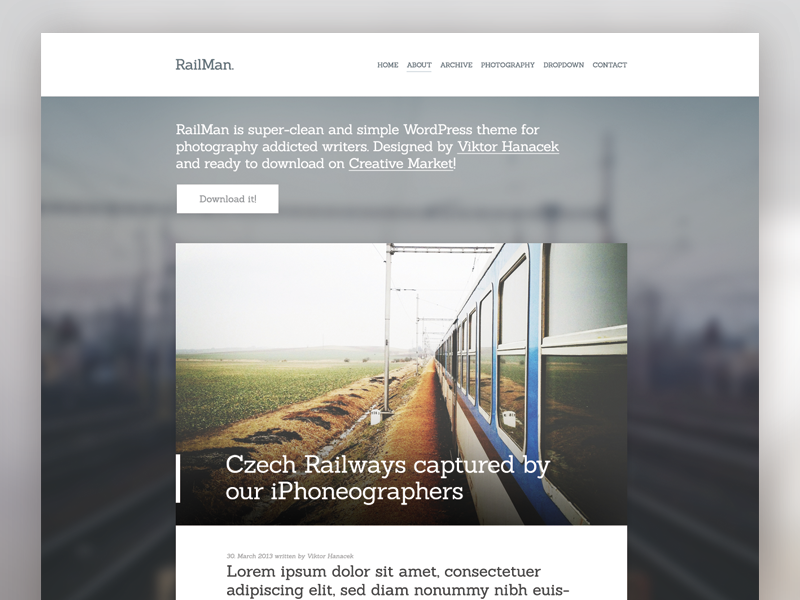 RailMan WordPress Theme is ready wordpess theme template photo big blog web website site webdesign modern minimal whitespace cms clean simple creativemarket download