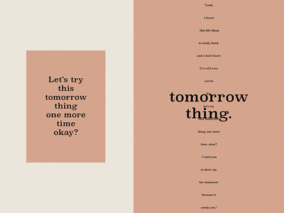 Tomorrow Thing color write graphic layout design type