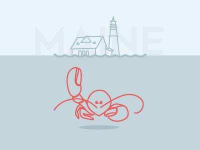 Lobster Wave ocean hello lighthouse line art maine lobster