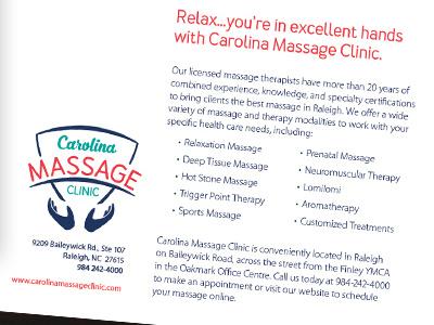 Carolina Massage Clinic Promotions hands massage copywriting promotion logo identity