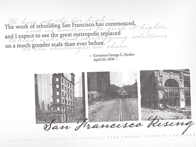 San Francisco Rising direct mail typography print design