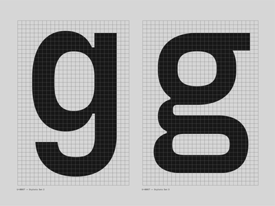 Fraktion Sans – Stylistic Alts inktrap options grid alternate g lowercase grey black typeface font typography type