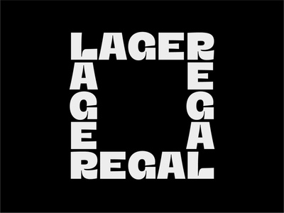 LAGER REGAL palindrome vertical monospaced black typeface font typography type