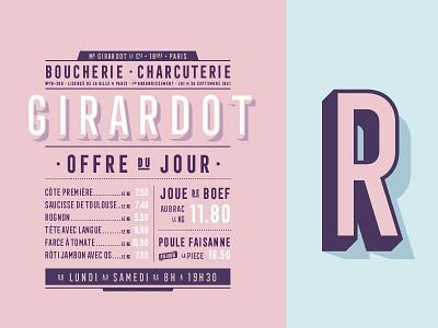 Boucherie layers butcher boucherie meat typography font pink paris frontage 3d specimen type
