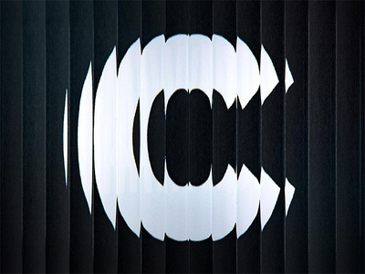 C photoshop photography reeded fluted texture distortion glass white black alphabet typography type