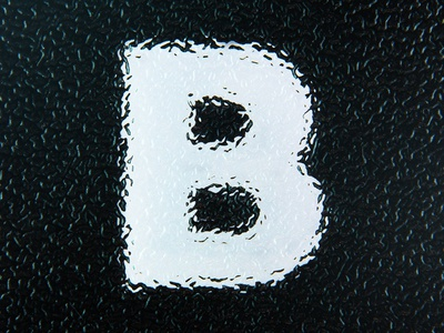 B distortion texture glass photography white black alphabet typography type