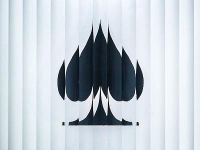 Behind Glass - Spades glutedglass glass distortion fluted blackandwhite spades photographic dingbats zapfdingbats type