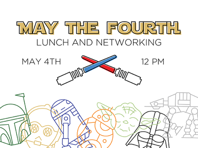 May the Fourth Event Branding illustration lunch networking light saber may the fourth event branding star wars