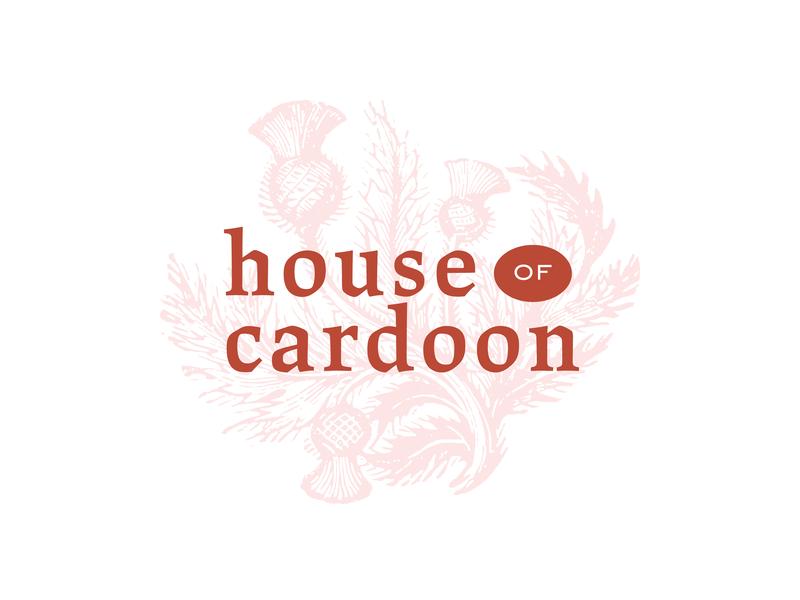 House of Cardoon 2 drawing etching thistle artichoke pink red serif logodesigner logodesign logo cardoon
