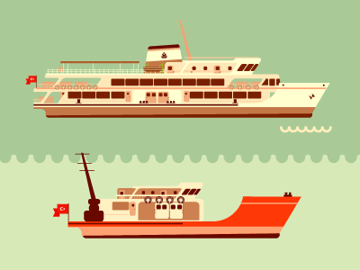 ferry and a fishing boat vapur istanbul landmark adidas illustration graphic design vector ferry fishing boat