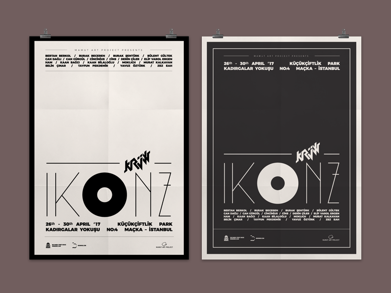 Posters of Ikonz by Krüw typography cool clean communication visual branding poster graphic design vector exhibition ikonz