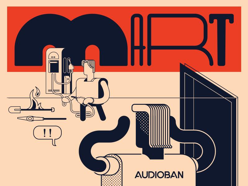 Audioban march detail panic gas station burak beceren illustration graphic design vector character design design drawing typography artwork flat audioban event calendar program music flyer sketch doodle
