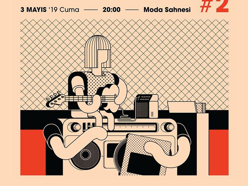 Radyo Eksen Poster detail illustration graphic design vector character design design typography artwork program music flyer sketch doodle poster posters event radio dj guitarist guitar vinyl