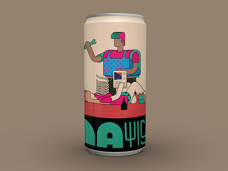 Audioban may beer can worker may doodle sketch flyer music program audioban artwork typography drawing design character design vector graphic design illustration packaging beer can can packaging design