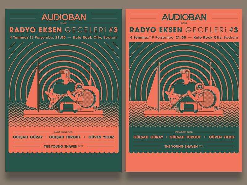 Radyo Eksen Geceleri 3 alternatives illustration graphic design vector character design design typography artwork program music flyer sketch doodle poster posters event radio dj guitarist guitar vinyl
