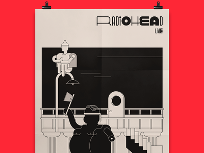 Radiohead Gig Poster paranoid android gigs gig radiohead poster fanart event music flat artwork drawing typography design character design vector burak beceren graphic design illustration