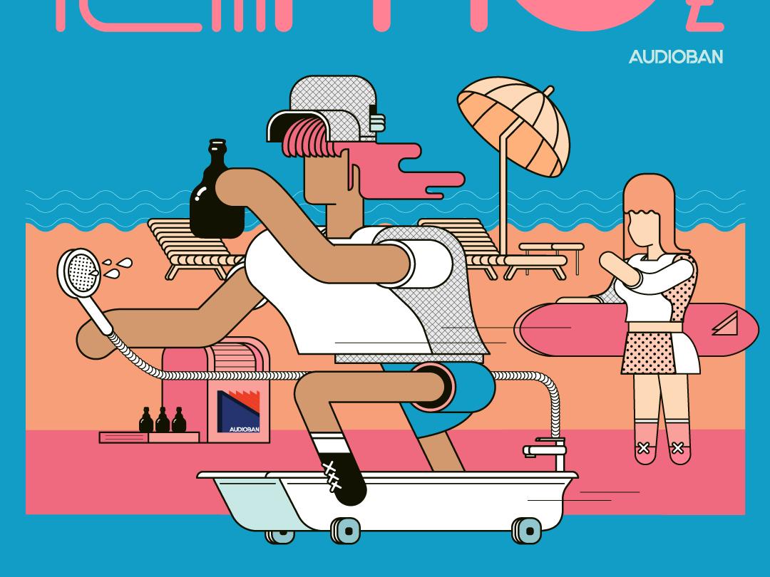 Audioban Temmuz umbrella surf surfer girl beach skater boy skater burak beceren illustration graphic design vector character design design typography artwork flat audioban event calendar program flyer