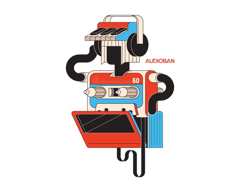 Audioban Characters player headphones walkman creature casette music doodle flat artwork design illustration graphic design character design vector audioban burak beceren