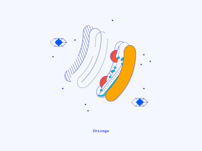 Chicago chicago dog hotdog design location office dimensional illustration