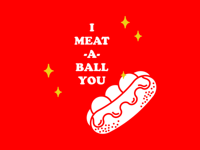 I Meat-a-ball You retro food sub sandwich meatballs valentines day valentines illustration