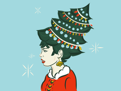 Retro Christmas design merry christmas holiday retro vintage christmas hair illustration