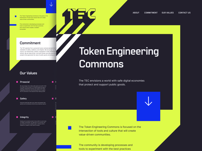TEC - Token Engineering Commons website layout typography design logo branding commons engineering token