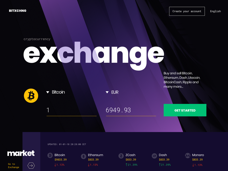 Cryptocurrency Exchange Landing Page header trading exchnage wallet bitcoin landing page crytocurrency